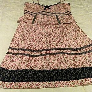 Anthro Odille sz 6 cherries black lace cami&skirt